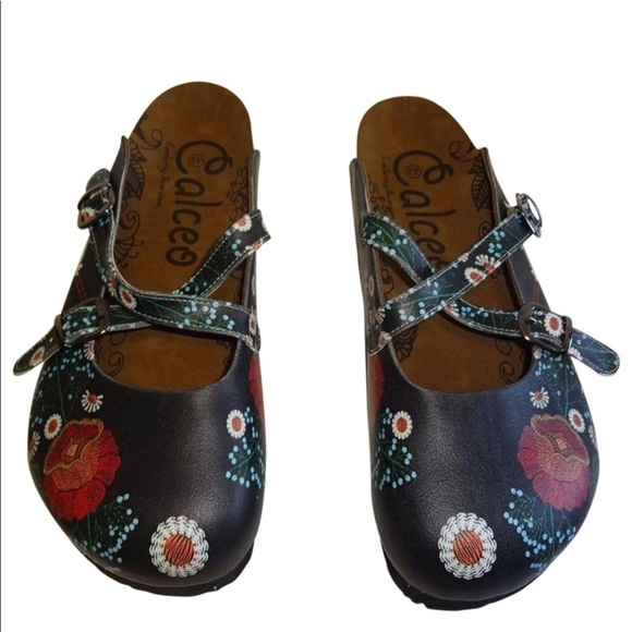 06991fab378b calceo Shoes - Calceo floral pelican vegan leather clogs